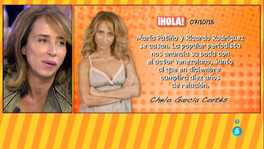 Maria Patiño desmiente su boda publicada en 'Hola' por su amiga Chelo García Cortés
