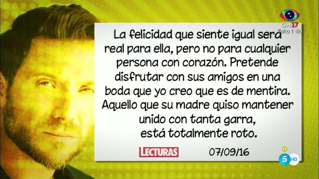 """Antonio David Flores: """"Me parece muy cruel que Rocío Carrasco diga que es tan feliz"""""""