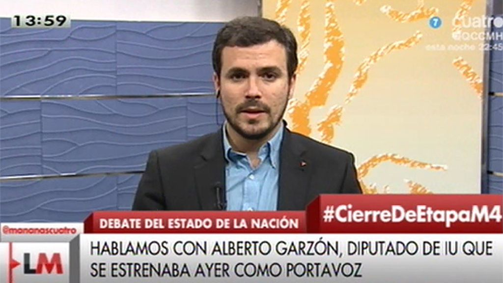 "A. Garzón: ""Era mi primer debate, pero probablemente el último para Rajoy"""
