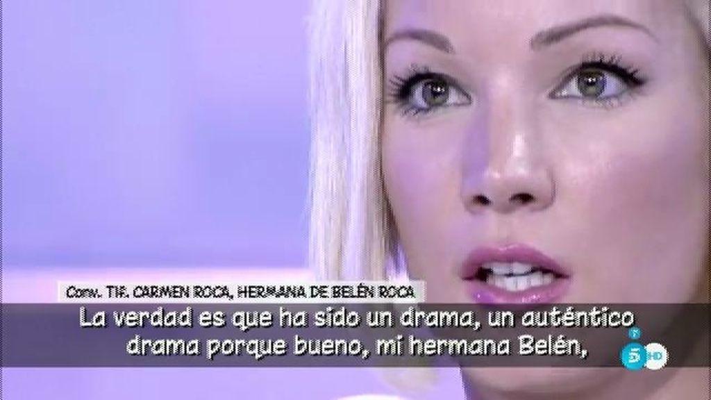 """Carmen Roca, hermana de Belén de 'GH VIP': """"Todavía no ha superado la muerte de su novio"""""""