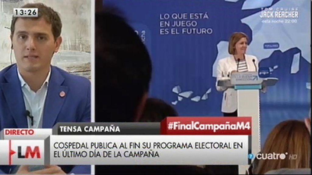 """A. Rivera, de Cospedal: """"Lo importante no es que nos copien ideas, sino que las hagan"""""""
