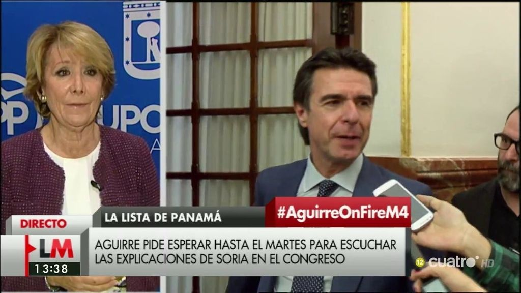 """Aguirre, de Soria: """"Lo que haya hecho Soria en el 92 en la empresa privada, muy grave tiene que ser para que le cueste la dimisión"""""""