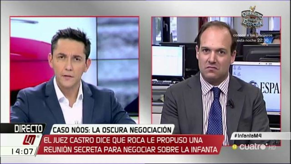 """E. Urreiztieta: """"Castro denuncia una proposición del bufete Roca de llegar a un acuerdo secreto para salvar a la infanta"""""""