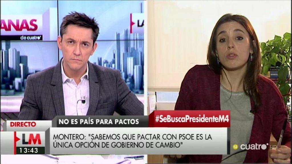 """Irene Montero: """"El acuerdo del PSOE y Ciudadanos no tiene futuro"""""""