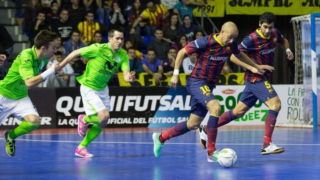 El Barcelona Alusport derrota a Inter Movistar en un partido de altura en el Palau (5-3)
