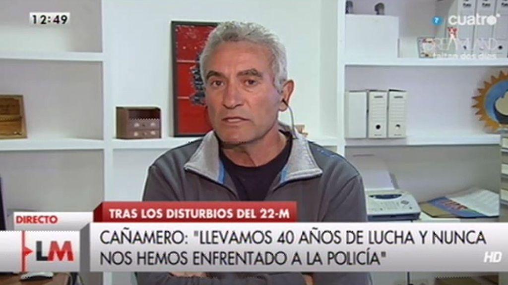"""Cañamero: """"Creo que hay una intención de criminalizar esa gran movilización social"""""""