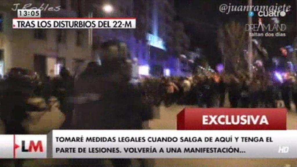 Exclusiva: el testimonio de una manifestante herido en los altercados tras el 22-M