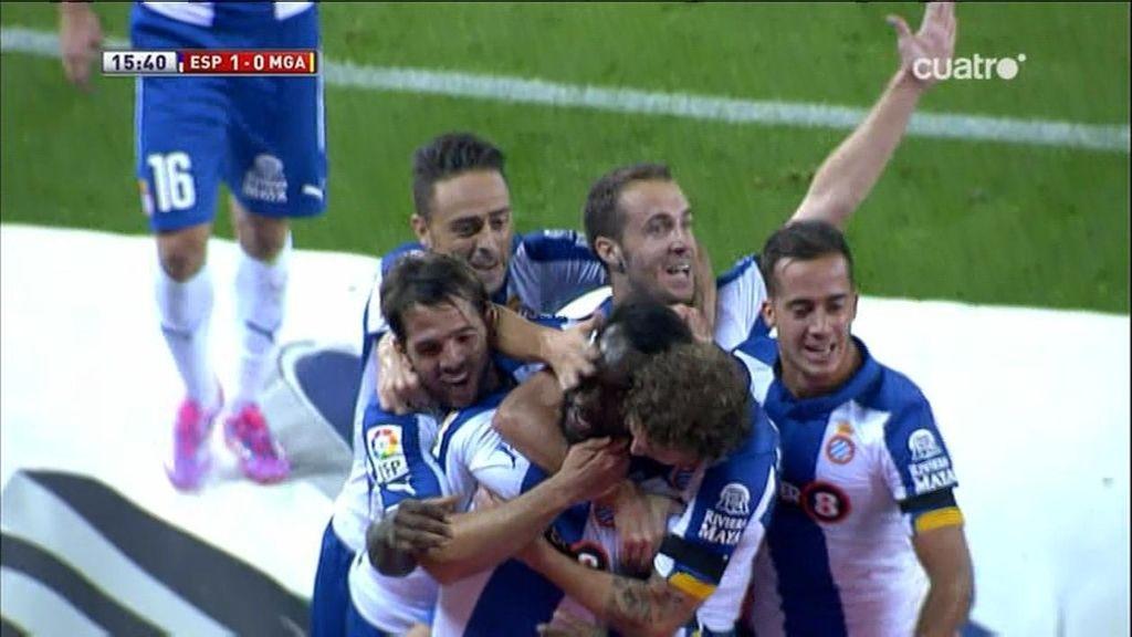 Caicedo abre el marcador aprovechando un pase de tralíneas de Sergio García