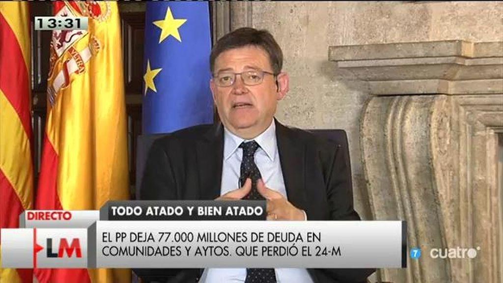 """Ximo Puig: """"Ha habido un cóctel letal entre una mala financiación y una mala gestión"""""""