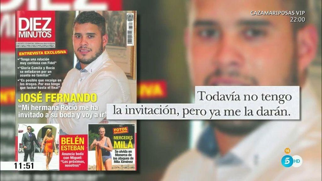 """José Fernando, en 'Diez minutos': """"Rocío me ha invitado a su boda y voy a ir"""""""