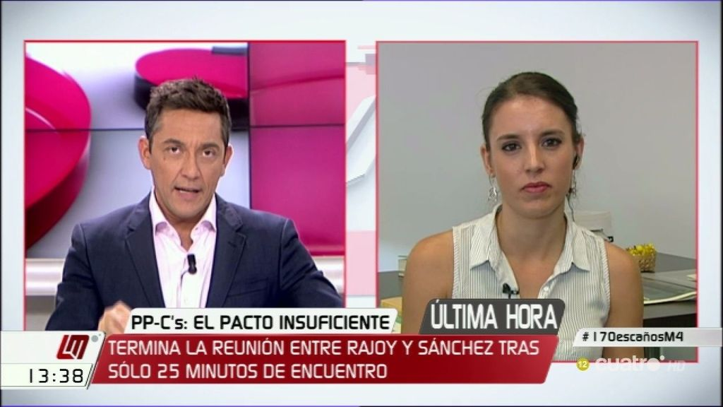 """Irene Montero, Podemos: """"Hay que explorar un gobierno alternativo de progreso"""""""