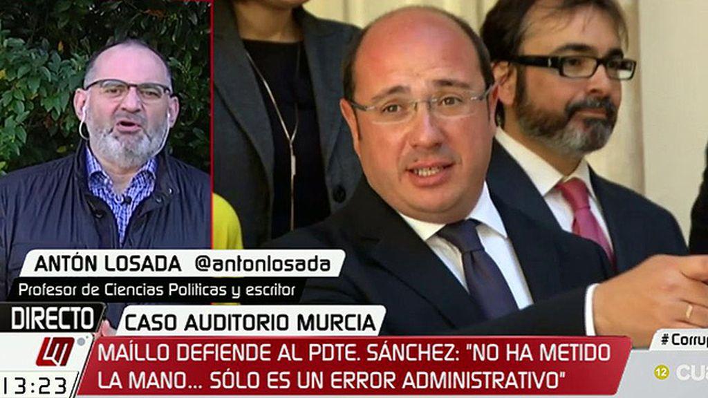 """Antón Losada: """"El presidente de Murcia tendría que estar en su casa por tirar a la basura seis millones de euros"""""""
