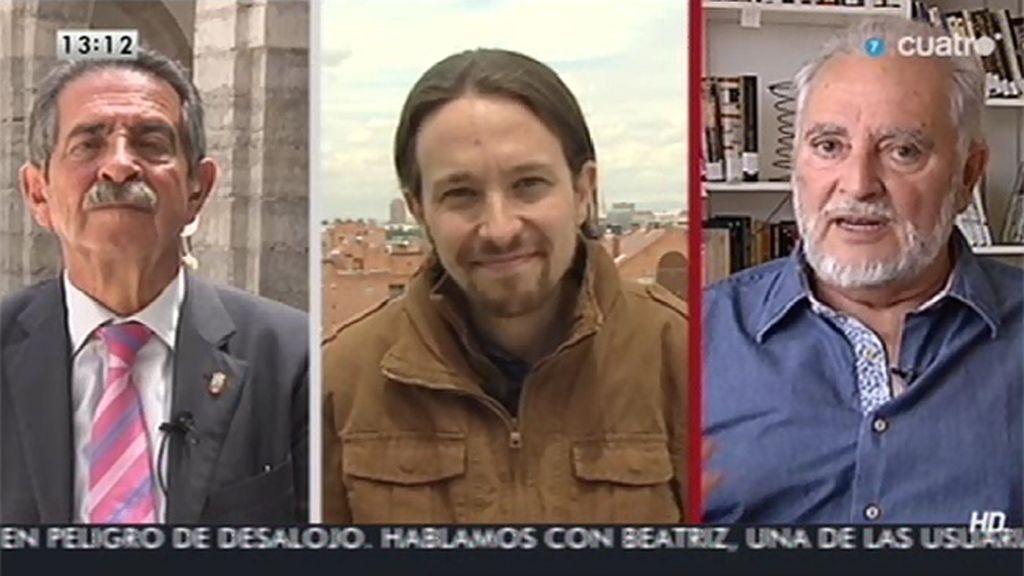 """Anguita, en sintonía con Pablo Iglesias, cree que hay que crear """"un contrapoder"""" que en su momento """"asuma la tarea de gobernar"""""""