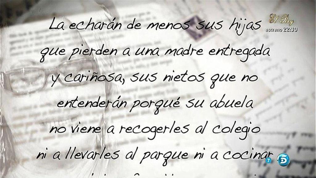 La carta de Ángela Portero a Mayte Zaldívar