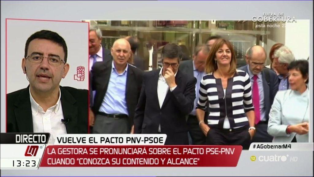 """Mario Jiménez, del acuerdo PSE-PNV: """"De partida, nos parece buena fórmula porque aporta estabilidad"""""""