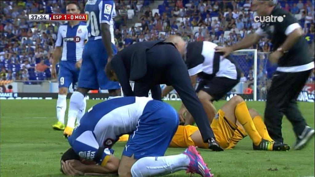 Javi López ve la amarilla en un aparatoso choque con Ignacio Camacho