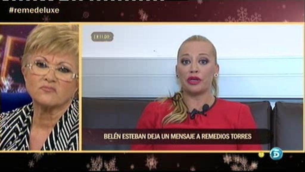 El mensaje de Belén Esteban, vetada en la entrevista, a Remedios Torres