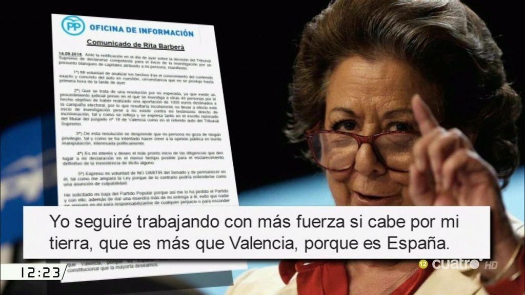 Las cuatro razones de Rita Barberá para no dimitir del Senado