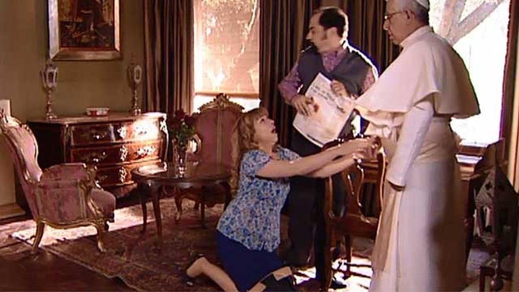 Berta, a bolsazos con el Papa Francisco