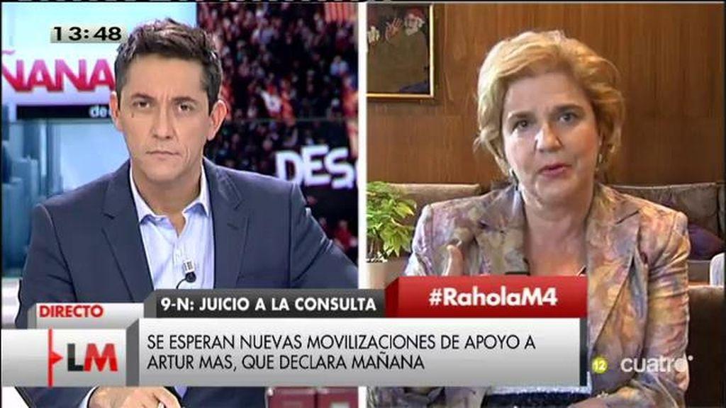 """P. Rahola: """"Voy a expresar pacíficamente mi rechazo profundo a un proceso político con el presidente y representante de los catalanes"""""""