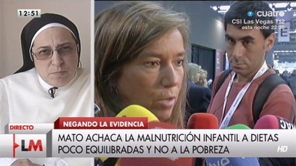 """Sor Lucía Caram: """"¿Cómo  tenemos una alimentación equilibrada cuando la gente no tiene que comer?"""""""
