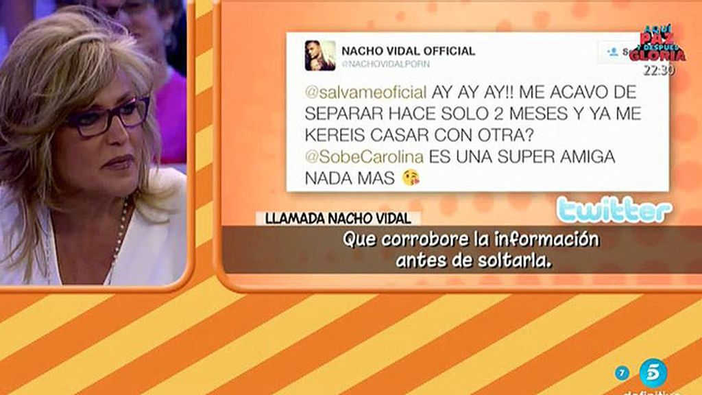 """Nacho Vidal, de Lydia Lozano: """"Que corrobore la información antes de decirla"""""""