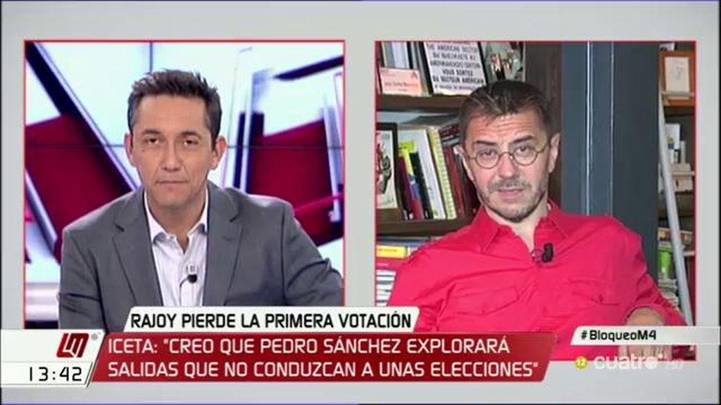 """Monedero: """"Si Rajoy, Rivera y Sánchez no estuvieran, hoy habría Gobierno"""""""