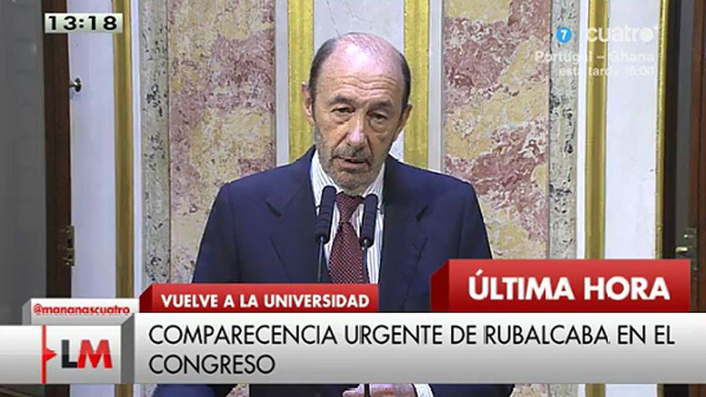 """Rubalcaba: """"En septiembre dejaré mi escaño en el Congreso y volveré a mi universidad"""""""