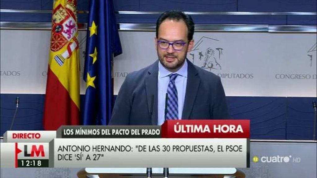 """A. Hernando, sobre el acuerdo del Prado: """"Creemos que todavía hay tiempo y que estamos obligados a intentarlo"""""""