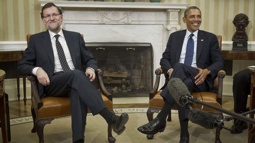 Buena sintonía y felicitaciones en el encuentro entre Rajoy y Obama