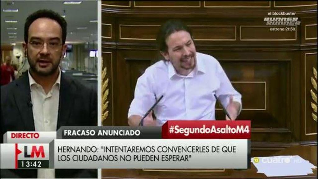 """Hernando: """"Podemos tener el cambio esta tarde y quien no quiera que sea así, que asuma su responsabilidad"""""""