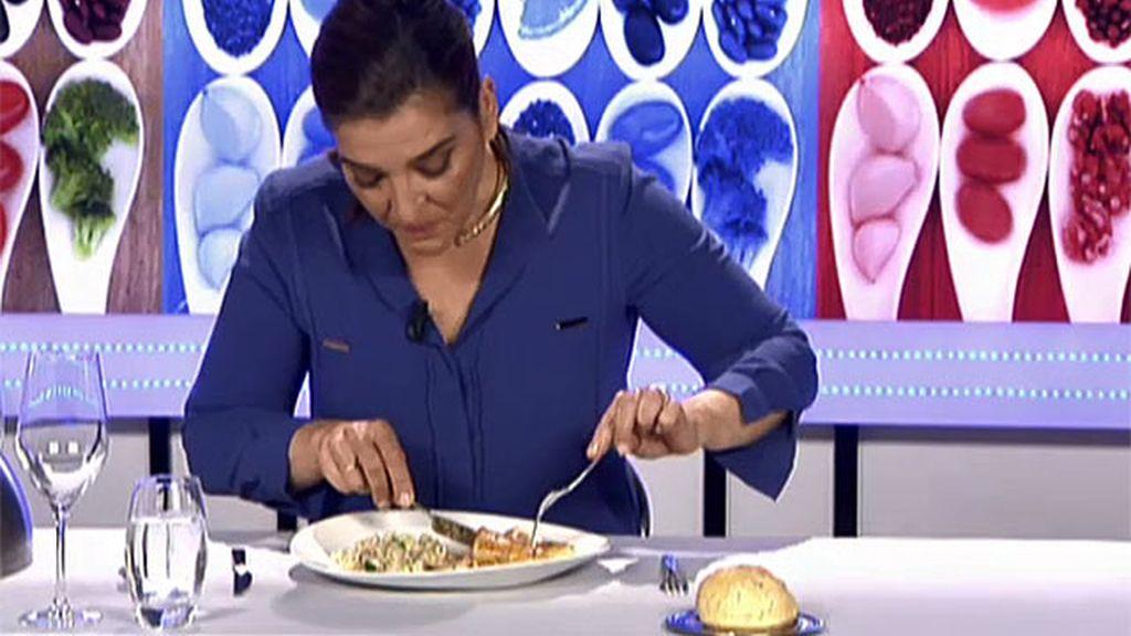 """Mª Jiménez Latorre, sobre los calamares con risotto: """"Este plato está mucho mejor tapado"""""""