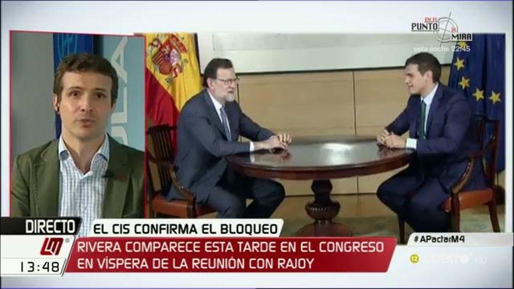 """Pablo Casado, ante el anuncio de Rivera: """"Ojalá sea que cambian de la abstención al voto afirmativo, pero no lo sé"""""""