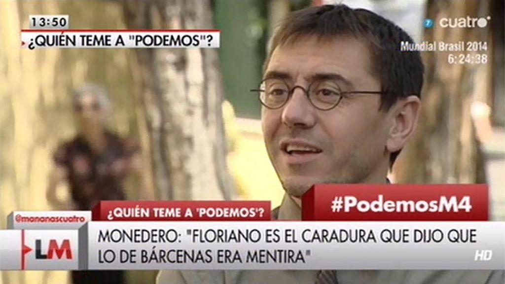 """J. C. Monedero: """"¿Quién es Floriano para acusar a nadie de mentir?"""""""