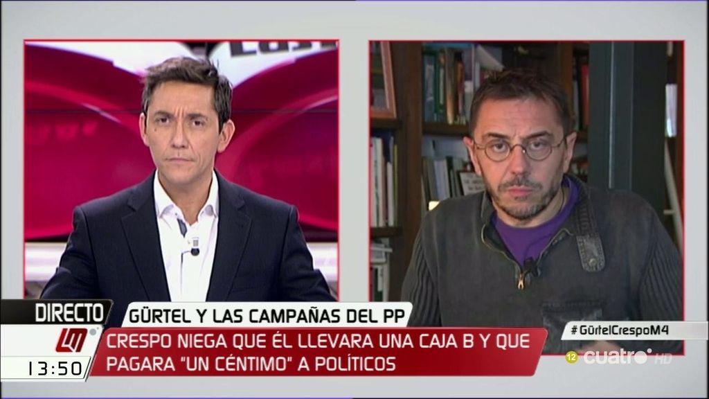 """J.C. Monedero: """"El PSOE ha decidido echarse en brazos de Rajoy"""""""