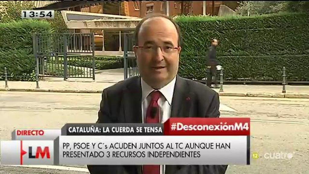 """Miquel Iceta: """"No estamos dispuestos a que se utilicen las instituciones catalanas para saltarse la legalidad"""""""