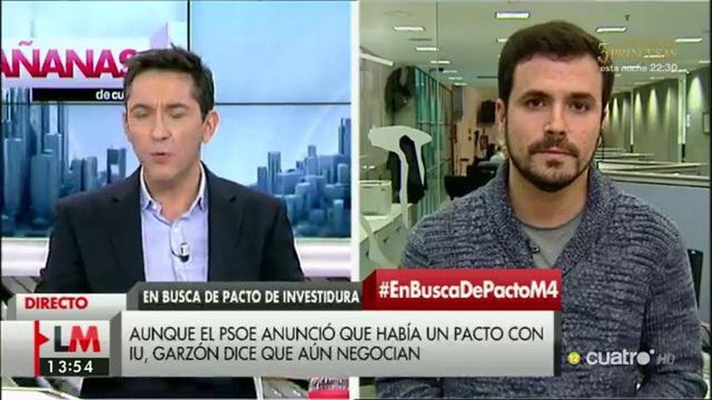 """Alberto Garzón: """"Es una buena noticia que Podemos vuelva a la mesa de negociación"""""""