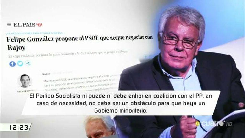 """Felipe González, sobre el PSOE: """"En caso de necesidad, no debe ser obstáculo para que haya un gobierno minoritario"""""""