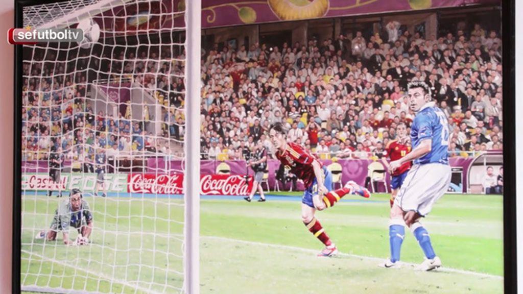 El cuadro del gol de Silva a Italia en la final de 2012 llega a la sala de goles de la RFEF