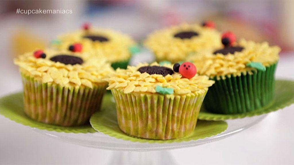 Cupcakes con forma de girasol