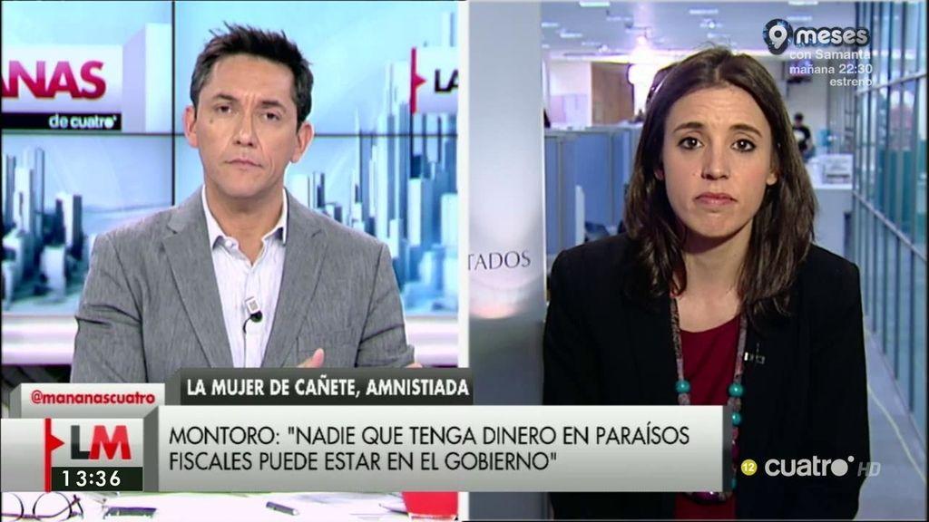 """Irene Montero: """"El señor Cañete debe dimitir por muchas cosas"""""""