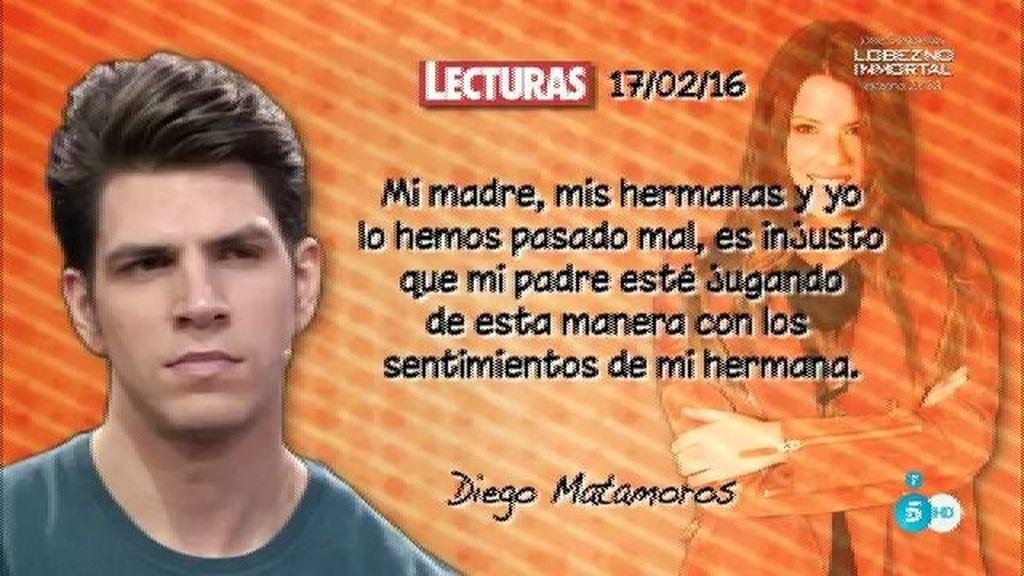 """Diego, en 'Lecturas': """"Laura ha tenido a su padre por primera vez y ha sido en la tele"""""""
