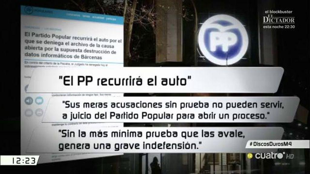 El PP recurrirá el auto de procesamiento por el borrado de los discos duros de Bárcenas
