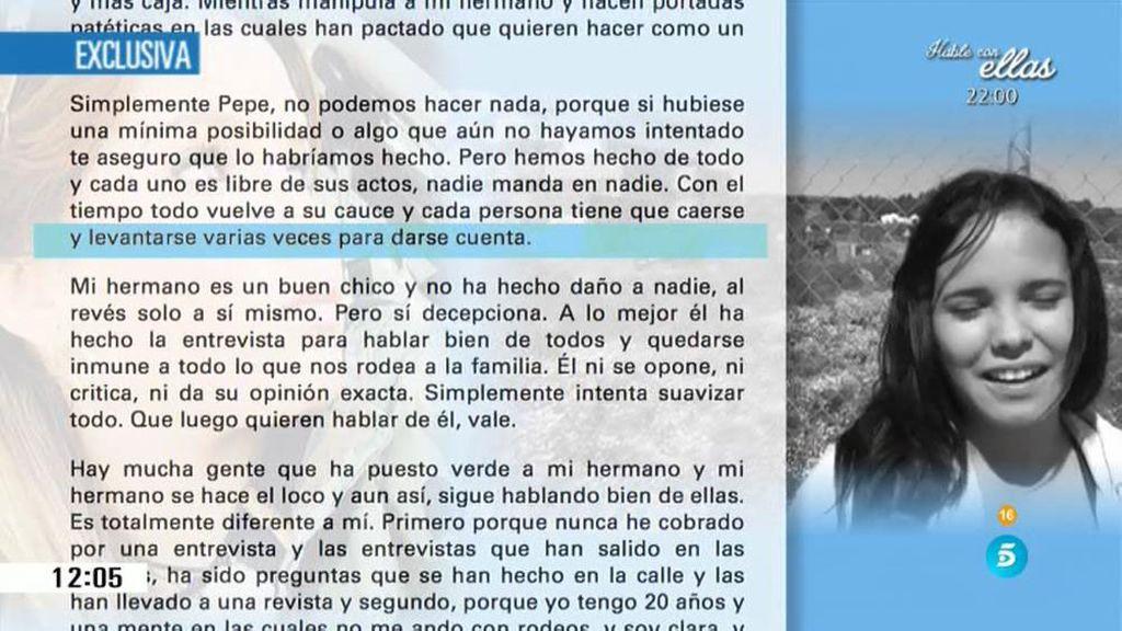 """Gloria Camila: """"Michu lo único que quiere es volver a salir y y pasearse por los platós"""""""