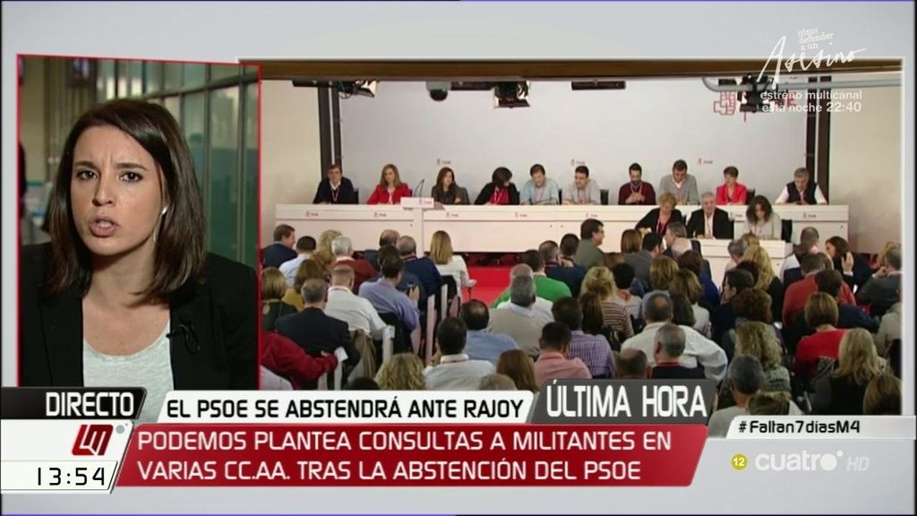 """I. Montero: """"El PSOE ha decidido culminar el golpe de régimen con un 'abstencionazo"""""""