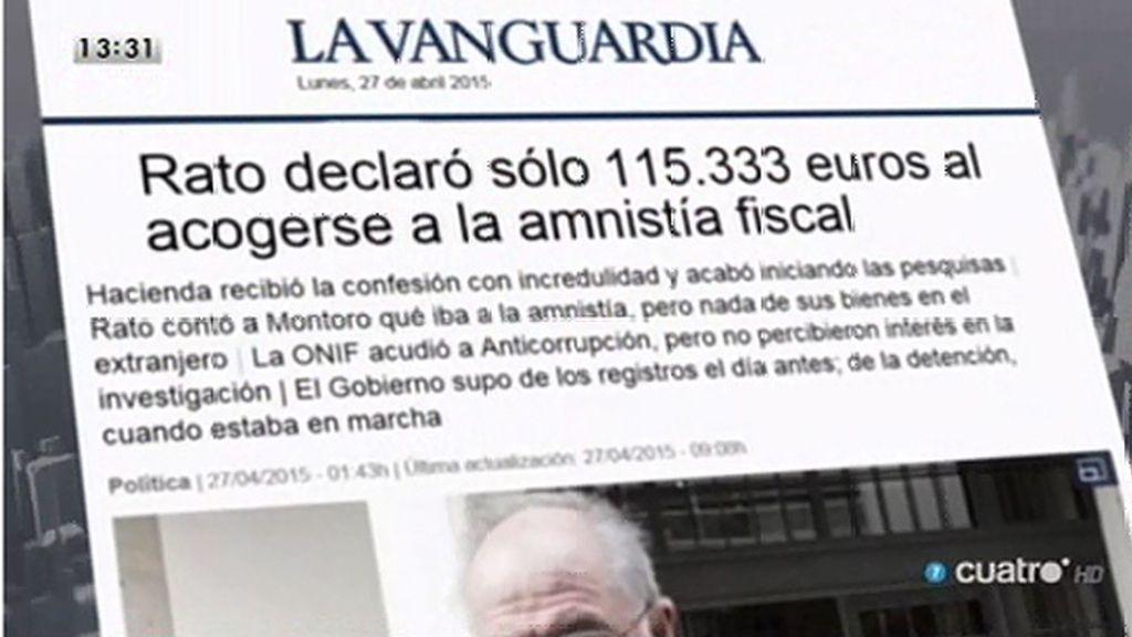 Rato se acogió a la amnistía fiscal declarando sólo 115.333 euros, según 'La Vanguardia'
