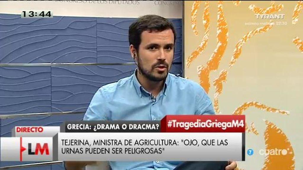 """A. Garzón, de Grecia: """"Cuando se pide decidir a la ciudadanía, un puñado de burócratas dicen que es peligroso"""""""