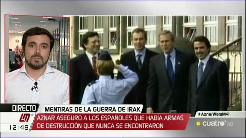 """Alberto Garzón, de Aznar: """"Es el responsable de llevar al país a una guerra por motivos económicos"""""""