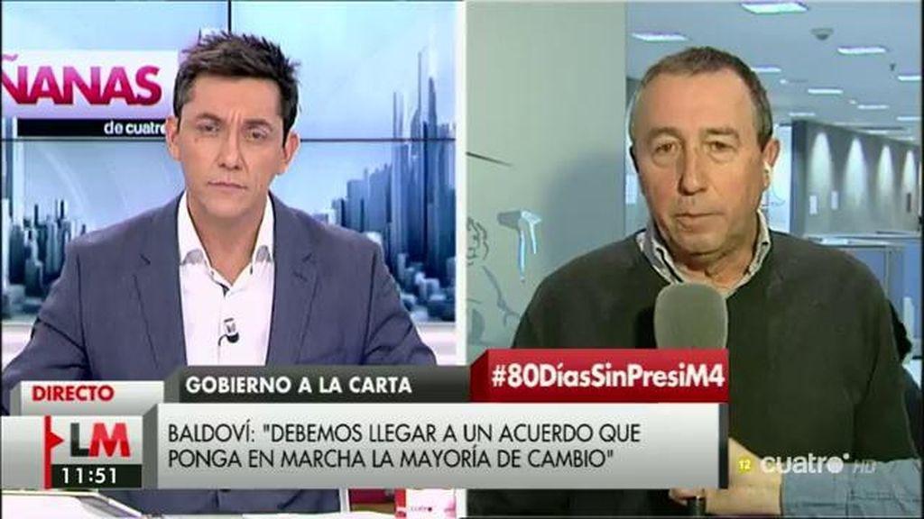 """Joan Baldoví: """"Le pido al PSOE que se deje de complejos, que no se ligue a Ciudadanos de forma definitiva"""""""