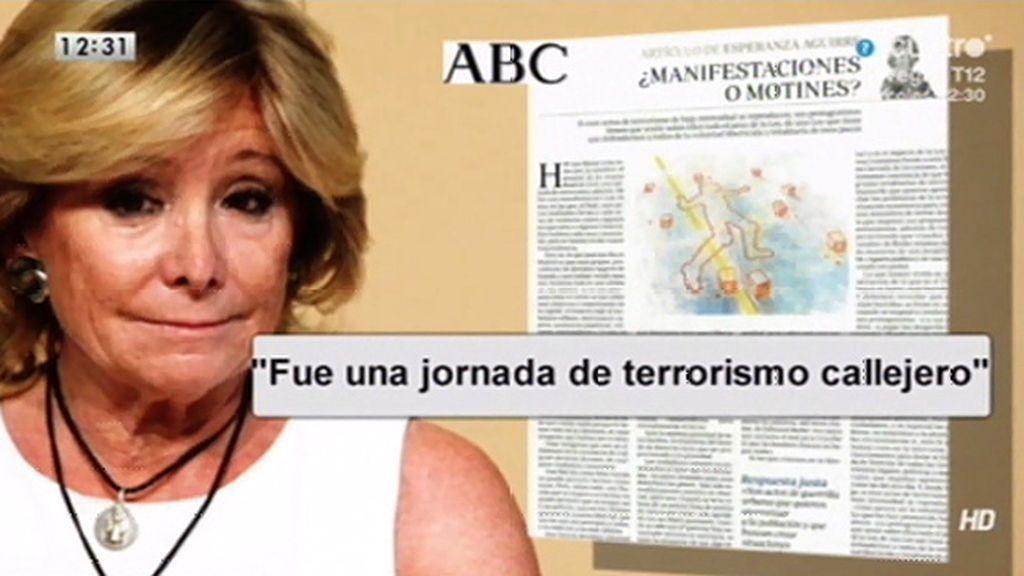 Esperanza Aguirre carga contra el 22-M